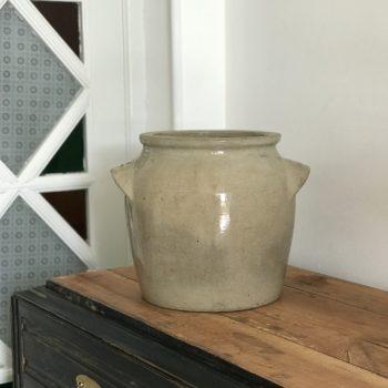 Pot en grès beige avec anses grand vase pot plante fleurs décoration
