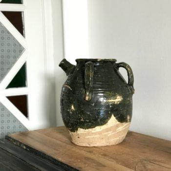 Pot en céramique vernissé vert ancien vintage