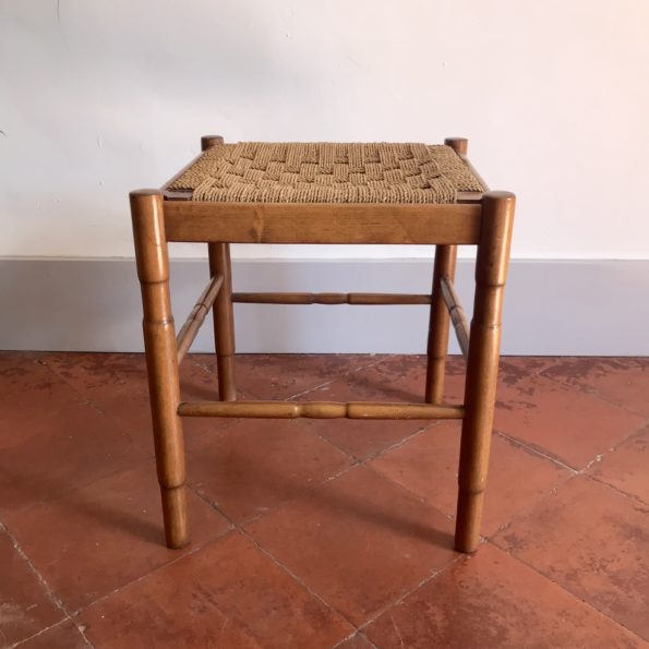 Tabouret en bois et corde vintage