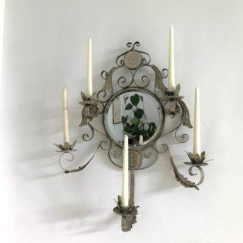 Miroir ancien 5 bougies glace au mercure vintage