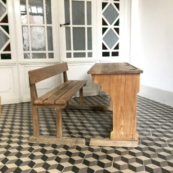 Ancien bureau ou pupitre d'écolier en bois 2 places