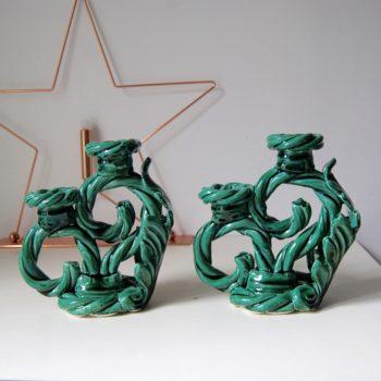 Chandeliers vintage en céramique vert émeraude