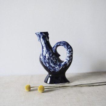 Vase bleu blanc Vallauris