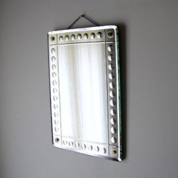 Miroir en verre biseauté motif bulle style Art Déco