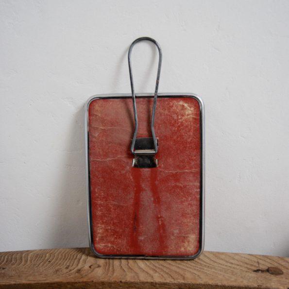 Ancien miroir de barbier dos carton rouge