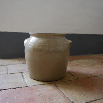 Pot en grès grand format beige clair avec anses vase pot plante fleurs décoration