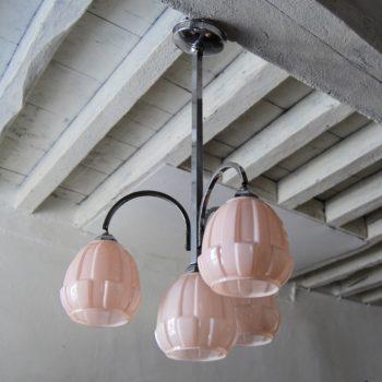 Suspension lustre Art Deco en opaline rose