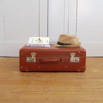 Valise vintage marron clair