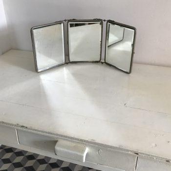 Miroir de barbier triptyque verre biseauté vintage