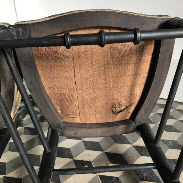 Chaise napoléon III velours bois noirci
