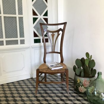 Chaise prie-dieu ancienne bois assise paille