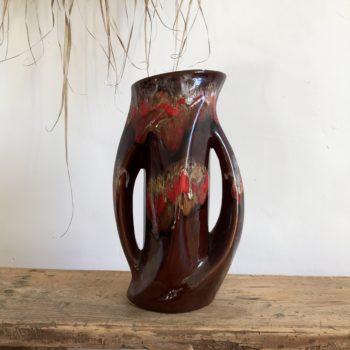 Vase Vallauris en céramique multicolore marron et rouge
