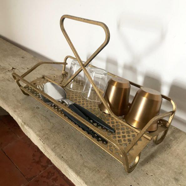 Serveur porte-tasses en laiton vintage