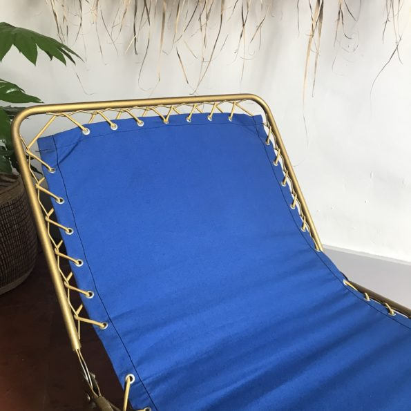 Transat bain de soleil bleu Lafuma vintage lit de camp