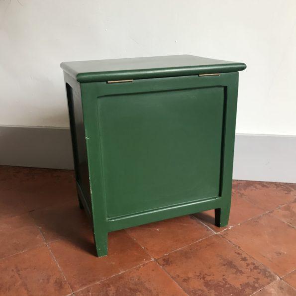 Coffre en bois peint en vert à jouets kids enfants