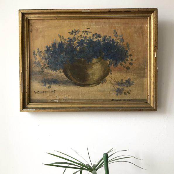 Huile sur toile encadrée bouquet de fleurs bleues signée G.Champion 1915 souvenir cordial