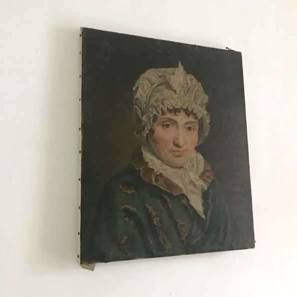 Ancienne huile sur toile portrait de femme tableau vintage