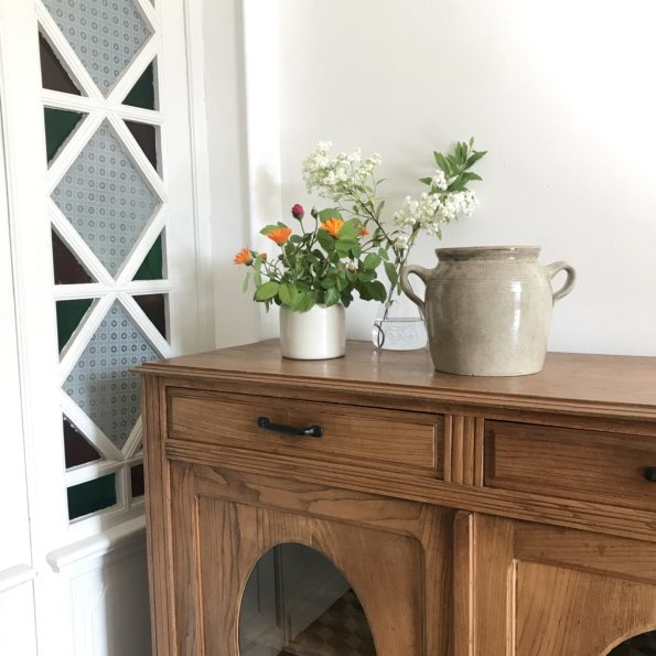 Pot en grès beige oreilles anses vase pot plante fleurs décoration