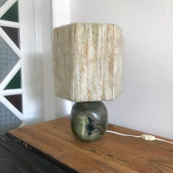 Lampe en grès abat-jour en laine vintage