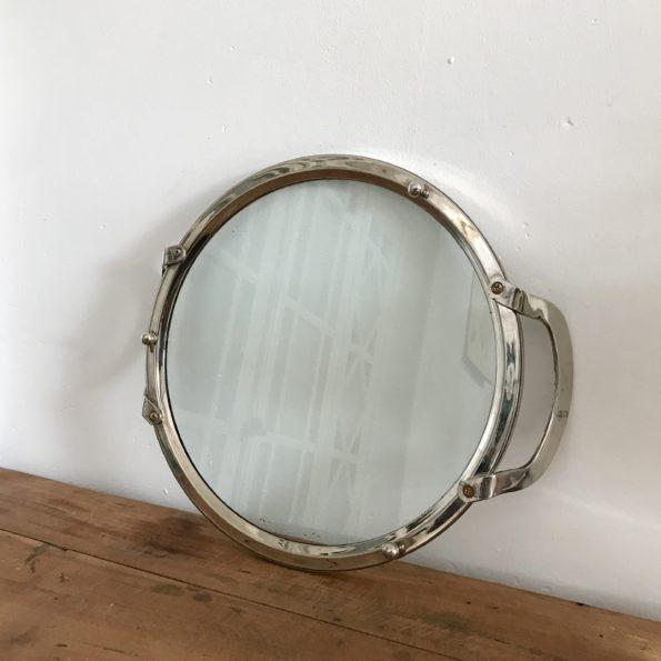 Plateau en verre et métal chromé vintage