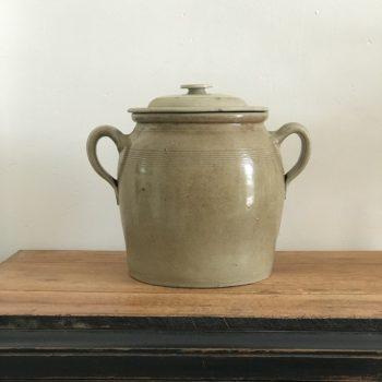 Pot en grès beige oreilles et couvercle anses vase pot plante fleurs décoration