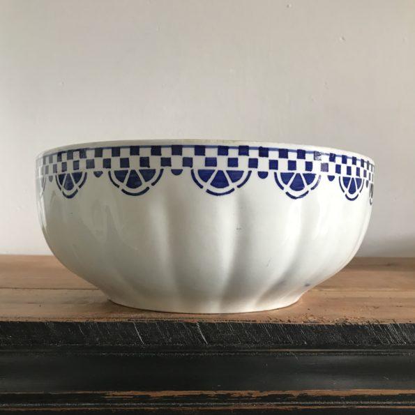 Saladier Céranord Saint Amand bleu et blanc vintage
