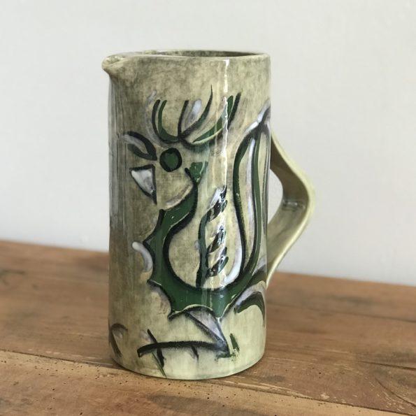Carafe ou pichet en faïence à décor de 2 oiseaux estampillé Arnis de Jacques Thiveaud Les Céramiques du Quercy