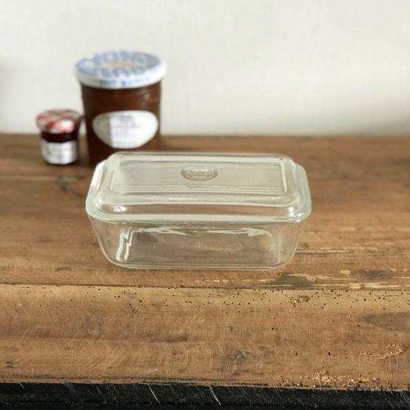 Beurrier Duralex en verre transparent vintage