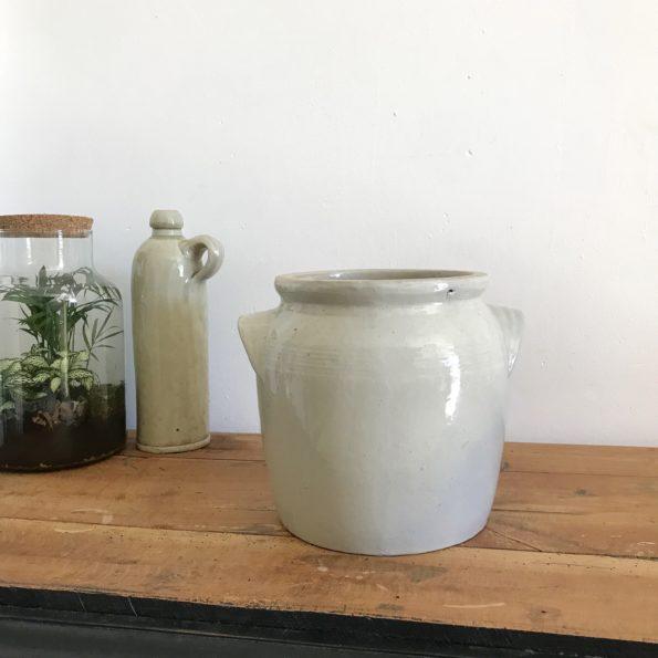 Pot en grès beige avec anses vase pot plante fleurs décoration