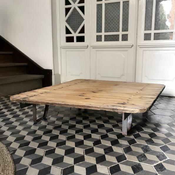 Table basse industrielle vintage atelier usine bois métal 2