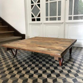 Table basse industrielle vintage atelier usine bois métal 1