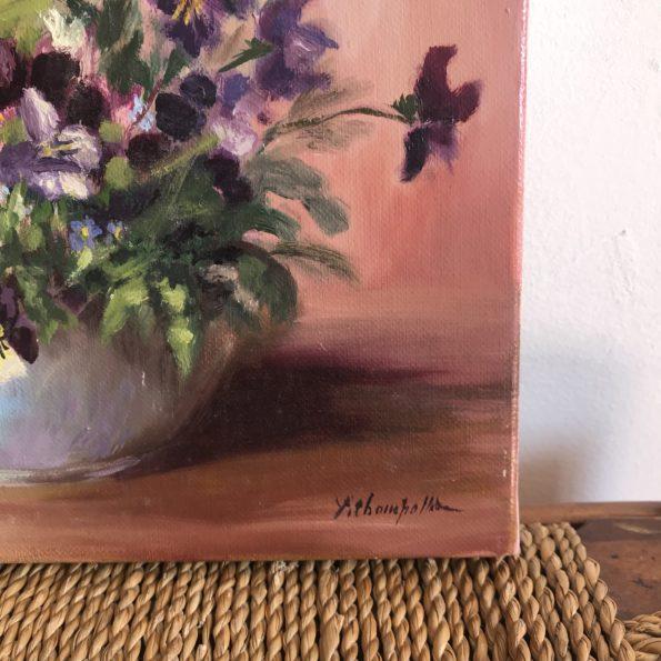 Tableau huile sur toile fleurs