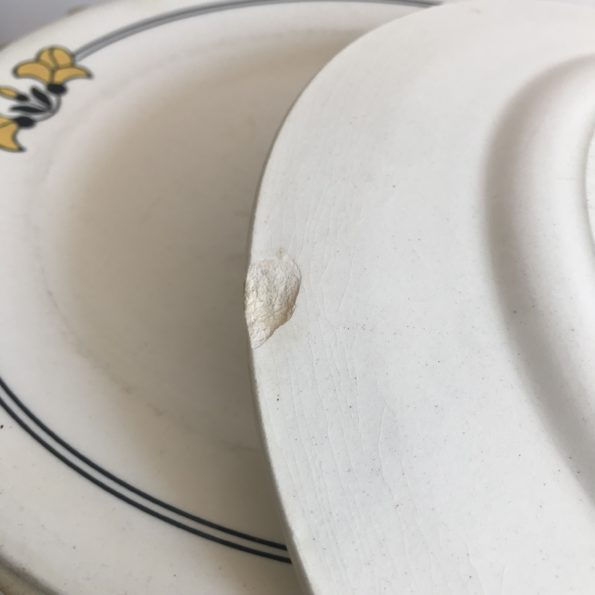 Lot de 8 assiettes plates et 4 assiettes à dessert Terre de Fer faïence de Salins Edouard Charbonnier modèle Renée
