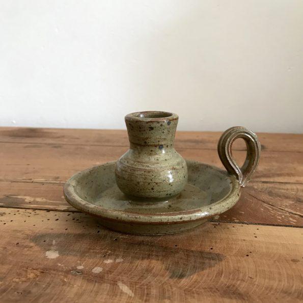 Bougeoir à main en grès vintage