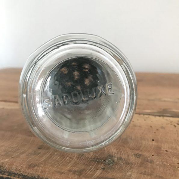 Sucrier en verre vintage avec bouchon vert de la marque Sapoluxe