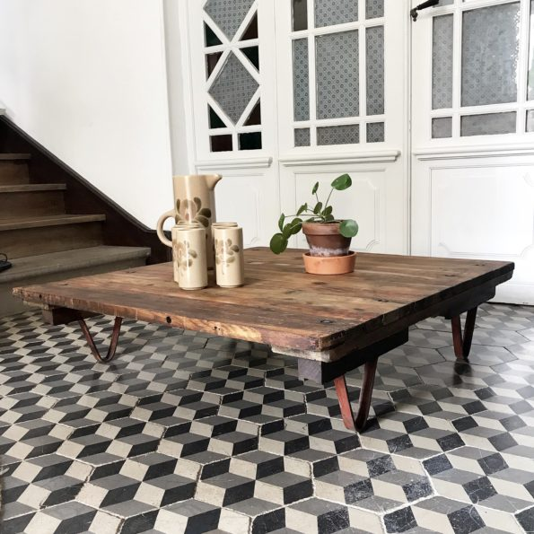 Table basse industrielle vintage atelier usine bois métal 3