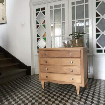 Commode en bois vintage 4 tiroirs